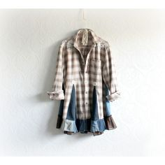 Plaid Flannel Shirt Boho Chic Tunic Upcycled Clothing Rustic Bohemian... ($74) ❤ liked on Polyvore featuring tops, tunics, grey, women's clothing, tartan flannel shirt, women plus size tops, plaid shirt, plus size tops and plaid tunic