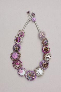Statement floral necklace crochet fiber jewelry от rRradionica