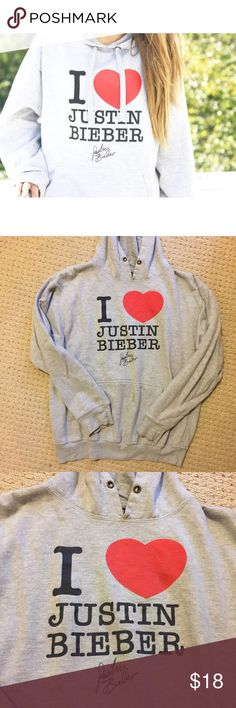 "Justin Bieber Hoodie ""I heart Justin Bieber"" sweatshirt. Worn only a few times, but is missing the drawstring. Tops Sweatshirts & Hoodies"