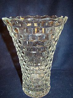 "Indiana Glass Whitehall 10"" Flared American Cubist Vase MINT! #20"
