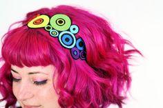 Rainbow Circles Headband Red Yellow Orange Blue by JanineBasil, £15.00