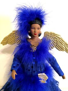 Royal Blue and Gold African American Christmas by DivineAngelShop