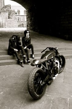 Motorbikes in black and white. A classic custom like this looks great anywhere