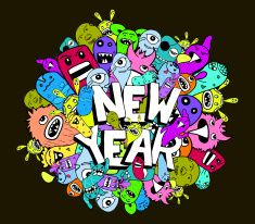 new year doodle hipster colorful background vector art illustration