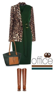 Office outfit: Green - Brown - Animal Print by downtownblues on Polyvore