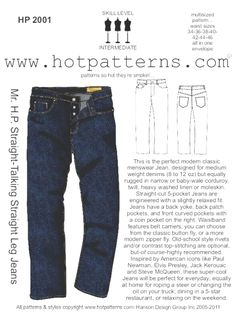 love these jeans.not too snug, not too baggy, j-u-s-t right!of course, we had to do a classic button fly, but we've also included instructions for a zipper fly. Mens Sewing Patterns, Sewing Men, Sewing Clothes, Men Clothes, Pattern Sewing, Pattern Drafting, Pdf Patterns, Clothing Patterns, Hand Sewing