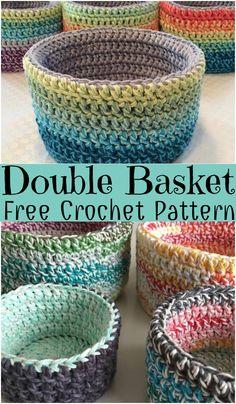 Crochet Double Basket Pattern #crochetbasketpatterns  #crochetbasketpatternsfree #crochetbasketpatternsfreeeasy #crochetbasketpatterns