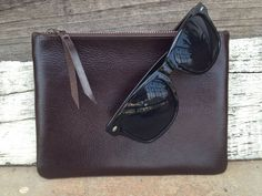 Chocolate mulipurpose leather pouch by LeatherandLoot on Etsy