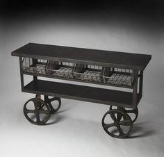 Industrial Chic Antietam Modern Black Cast Iron Trolley Buffet