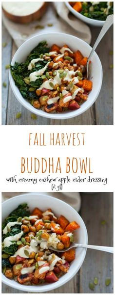 Fall Harvest Buddha Bowl with Creamy Cashew Apple Cider Dressing. A satisfying plant-based bowl this fall harvest buddha bowl with creamy cashew apple cider dressing is the perfect grounding dinner on a chilly fall night. Fall Dinner Recipes, Lunch Recipes, Whole Food Recipes, Healthy Recipes, Fall Vegetarian Recipes, Bol Buddha, Vinaigrette, Cashew Apple, Harvest Salad