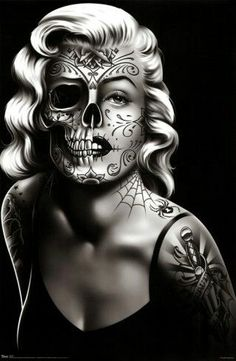 Daygirl Skull Face Art Poster Print - retro vintage Marilyn Monroe style pin up girl with tattoos, day of the dead skull face Marilyn Monroe Tattoo, Marilyn Monroe Kunst, Marilyn Monroe Artwork, Marilyn Manson, Marylin Monroe, Skull Tattoos, Sleeve Tattoos, Face Tattoos, Aztecas Art