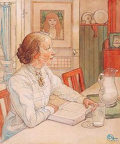 """Carl Larsson (28 maj 1853 - död 22 januari 1919) - """"Min äldsta dotter Suzanne med mjölk och bok""""."""