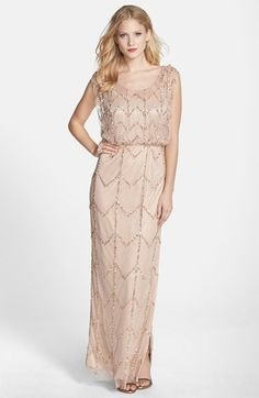 Free shipping and returns on JS Collections Chevron Beaded Blouson Gown at Nordstrom.com. Chevron lines of iridescent, metallic beads and sequins accentuate the sheer-mesh overlay of a lovely floor-length gown.