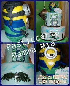 Torta all'italiana in decorata  Cake Designe con minion per il compleanno di un rugbista  !!!!