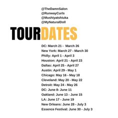 BREAKING NEWS!!! @TheDamnSalon and @RunwayCurls are excited to bring to your city the Unapologetically Natural Tour featuring the Queen of Natural Hair herself @Mushiyatshikuka!! That's right!! Mushiya and her Team are doing a 13 city tour damning the whole world one head at a time. Finally, you can experience what all the rave is all about. Spaces are very limited so book your appointment now and register for all of our tour events via link in bio or…