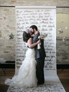 Ceremony backdrop and aisle runner. Photo by Tammy Horton via Style Me Pretty