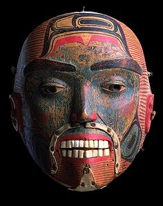 Haida secret society mask with copper details. Mid 19th century. @cargocultist