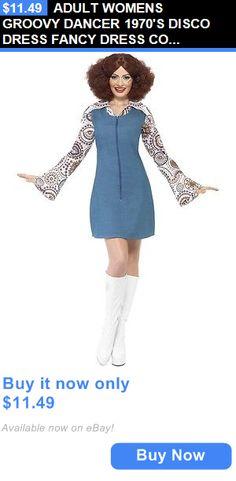 Women Costumes: Adult Womens Groovy Dancer 1970S Disco Dress Fancy Dress Costume - Medium BUY IT NOW ONLY: $11.49