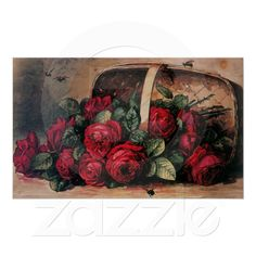 """""""Red Roses Spilling out of Basket"""" - Paul de Longpre"""