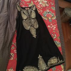 Free People Tunic/Dress! Black with Gold Detail! This size 8, Free People dress is a STUNNAHHH! Seriously, it looks incredible on, and can be worn for any occasion. I've worn it twice: once to a formal and once to a dinner with a denim jacket! Free People Dresses Mini