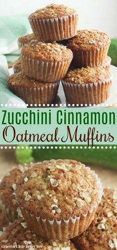 These Zucchini Oatmeal Muffins use shredded zucchini, cinnamon and brown sugar. They're full of flavor and no one will know that you're serving them a vegetable! Find the recipe at gracefullittlehoneybee.com #muffins #oatmeal #zucchini Easy Zucchini Recipes, Healthy Dessert Recipes, Healthy Treats, Baking Recipes, Breakfast Recipes, Healthy Nutrition, Breakfast Ideas, Bread Recipes, Healthy Eating