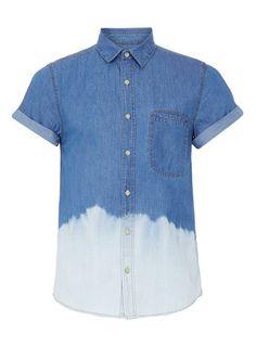 DENIM DIP DYE HIGH ROLLER SHORT SLEEVE SHIRT - Casual Shirts - Mens Shirts  - Clothing