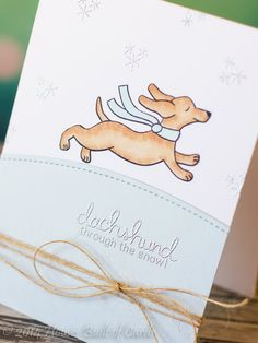 Dachshund Christmas Card by Heather Hoffman for Newton's Nook Designs - Holiday Hounds Stamp set