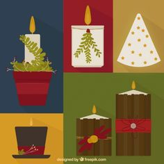 Set of christmas candles in flat design Free Vector