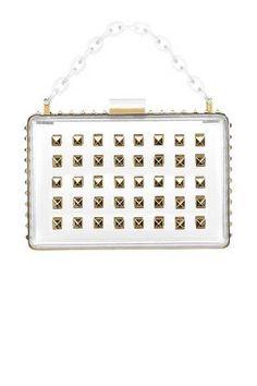 A Lucite clutch hides no sins (Valentino Garavani) Confessions Of A Shopaholic, White Clutch, Valentino Garavani, Best Bags, See Through, Chanel Boy Bag, Accessories Shop, Mini Bag, Sale Items