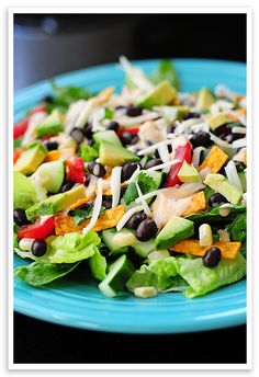 Black Bean Taco Salad  -- I add spicy chicken or ground beef with taco seasoning and make dressing out of equal parts sour cream and salsa.  Probably takes some of the healthy out of it.  But Soooo good!