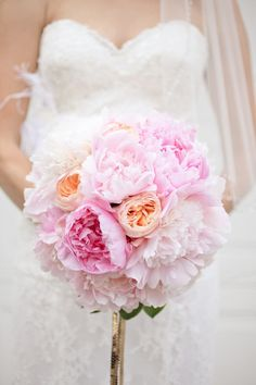peony and david austin rose bouquet by lovely little details