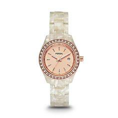 Fossil Stella Multifunction Resin Watch - Pearlized White with Rose ES2887   FOSSIL®
