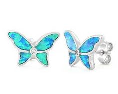 Pink and Blue Butterfly Earrings - Sterling Silver - Sparkly Crystal AGcdIK