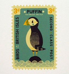 British 3d (old currency) 2nd Class postage stamp from a series featuring Birds Of The British Isles - this one features a Puffin