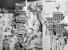 Corneliu Ghenciulescu et al. (IAIM—Ion Mincu Institute of Architecture, Bucharest, Romania): Ouzoud Waterfall Hotel (unbuilt), Ouzoud, Morocco, 1980.