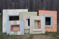 Happy Frames - Beach Shabby Chic Wall Grouping Gallery SET of Distressed Handmade and Hand Painted Picture Frames (5)