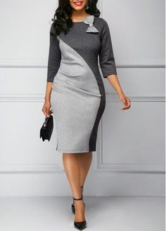 Back Slit Bowknot Embellished Color Block Dress African Dresses For Women, African Fashion Dresses, Office Dresses For Women, Clothes For Women, Work Clothes, Elegant Dresses, Beautiful Dresses, Grey Dresses, Dress Outfits