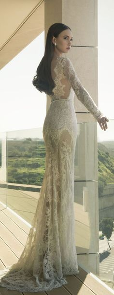 Dany Mizrachi 2016 Long Lace Sleevs Wedding Dress / http://www.deerpearlflowers.com/lace-wedding-dresses-and-gowns/2/