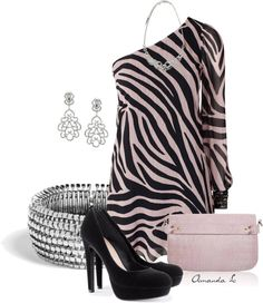 """One Shoulder Zebra Dress"" by ailunsford ❤ liked on Polyvore"