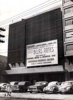 Cine Belas Artes anos 60 Rua da Consolação - Placa anunciando a abertura em breve, essa sala integrava o Circuito Serrador de cinemas. A maior empresa de cinemas de São Paulo.