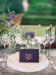 Beautiful purple hues on this wedding table: http://www.stylemepretty.com/2014/03/26/an-italy-workshop-the-wedding-inspiration/ | Photography: Jose Villa - http://josevillablog.com/