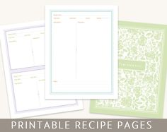 Printable Recipe Pages for Binders, Editable PDF, Instant Download