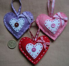 HEARTS HAND STITCHED FELT CRAFT SET OF THREE MOTHER'S DAY GIFT