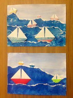 A3 laveeraus + pulloväreillä meri erilliselle paperille --> meri revittiin ja liimattiin + purjeveneet taiteltiin (ohje purjeveneisiin: http://www.activityvillage.co.uk/origami-sailing-boat) 5. luokka, 2h