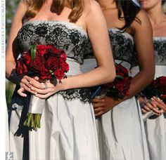 The bridesmaid dresses were the first thing the bride picked for the wedding and they ended up setting the old Hollywood glamour theme. The strapless, silver silk taffeta Tadashi cocktail dresses had a black lace overlay, sash and subtle beading.