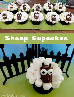 Sheep Cupcakes made with Mini Marshmallows - easy to make and fun for the kids. And for more fun cupcake decorating ideas follow us at http://www.pinterest.com/2SistersCraft/