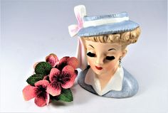 "Lady HEAD VASE NAPCO  ""Lucy"" C3342C  with  Blue Dress  and Hat with Pink  White Bow New Earrings & Necklace . The 4 1/2"" Vase made in 1958. by VintageQualityFinds on Etsy"