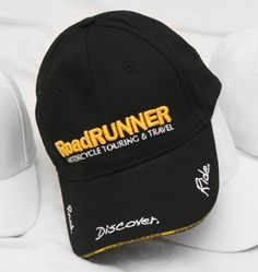 """Show your enthusiasm for motorcycle touring and travel with the brand new RoadRUNNER cap. Also good for hiding that helmet-hair when you're taking a break from riding.    Made from 100% cotton, this high quality baseball cap features a 3D embroidered RoadRUNNER logo on the front and the RoadRUNNER slogan """"Read. Discover. Ride."""" on the bill of the cap.        100% Cotton      Adjustable via brass buckle on backside - one size fits most      Black with yellow/white embroidery Helmet Hair, Youth Day, Motorcycle Touring, Brass Buckle, Road Runner, White Embroidery, Baseball Cap, Slogan, Brand New"""