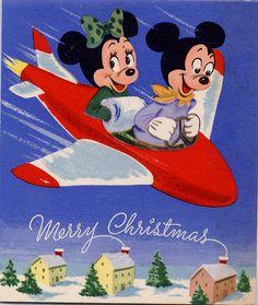 Mickey & Minnie Mouse vintage Christmas card