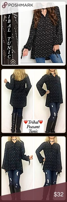 """Tribal Peasant Tunic Top Blouse SML Absolute in love with this tribal peasant Tunic Top in black & white. Super flattering, flowy & relaxed fit. Crochet  detail strips down bodice, ties on peasant sleeves & three top buttons. Thicker, good quality 100% rayon fabric. S M L  Small Bust 34-36"""" Length 31"""" Medium Bust 36-38"""" Length 32"""" Large Bust 38-40"""" Length 33"""" Tops Tunics"""